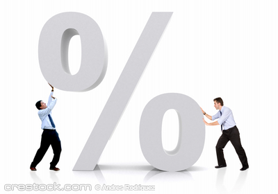 business men with a percentage sign isolated o...