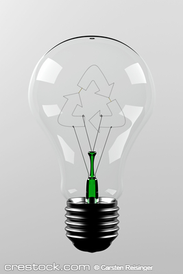 Renewable energy - light bulb with a filament ...